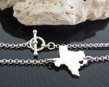Sterling Silver Texas Bracelet / Custom Heart / Small Texas Bracelet / Love Texas / State Bracelet / Texas Wedding