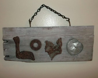 Cottage Chic Love Sign of Rustic Found Object Letters on Old Barn Wood