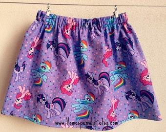 My Little Pony Girls Skirt, Girls Skirt, Purple Skirt, Girls MLP Skirt, Girls Elastic Waist Skirt, 3T Skirt, 4T Skirt, 5T Skirt