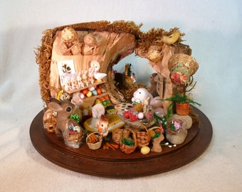 roombox Easter Bunny rabbit hole where Easter preparations are going on dollhouse miniature 1/12 scale