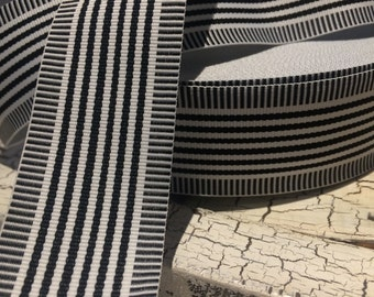 "1.5"" Preppy NAUTICAL BLACK and White Stripe Grosgrain Ribbon sold by the yard"