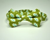 Boy's Bow Tie in Olive and Light Blue Mod Dots