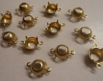 41ss stone size 9mm round brass open back prong connector settings 12 pc lot l