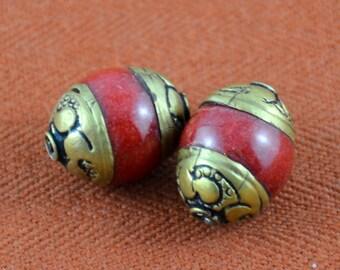 Tibetan Stone Bead with Repousse Caps Tribal Bead Set of 2