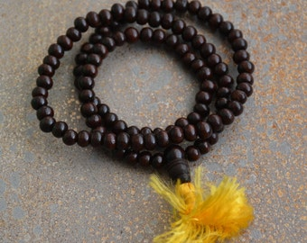 Rosewood Mala Beads, 9mm, 108 Beads, Dark Brown Wood Beads, Tibetan Prayer Mala, Prayer Beads,Rosewood Beads,Meditation Mala, One, LUM14-1