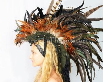 Custom Handmade Sage Feather Mohawk Bald Design Headdress Man Men Male Mens No Hair Burning Festival Concert Show