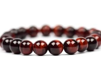 Red Tiger's Eye Bracelet Chakra Healing Gemstone Bracelet, Women's Fashion, Gemstone Bracelet, Handmade Jewelry, Gemstone Jewelry