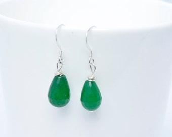 Green Earrings -  Green gemstone earrings - Green drop Earrings - Autumnal Earrings - Bridesmaids gift