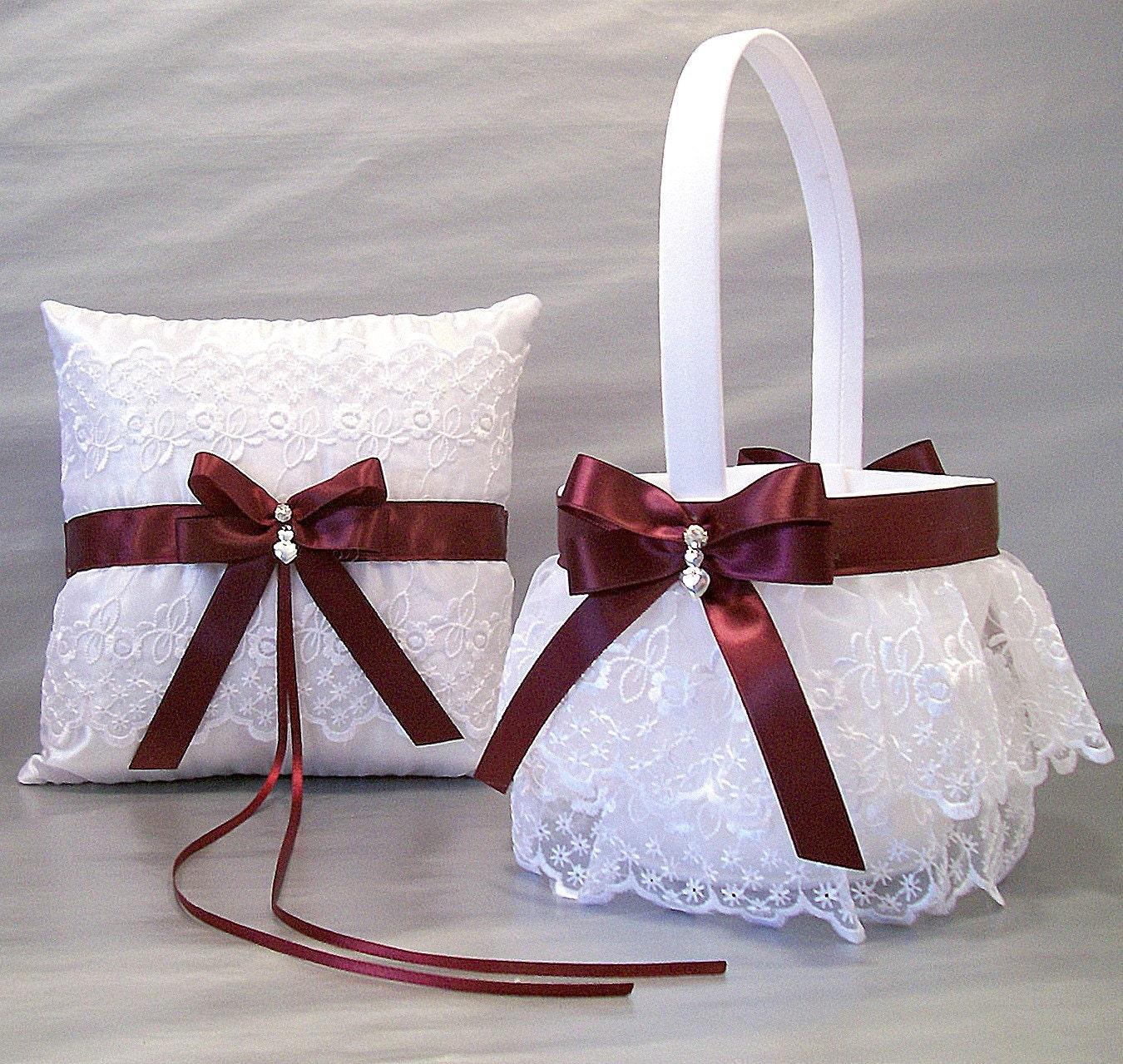 Burgundy Wedding Bridal Flower Girl Basket & Ring Bearer