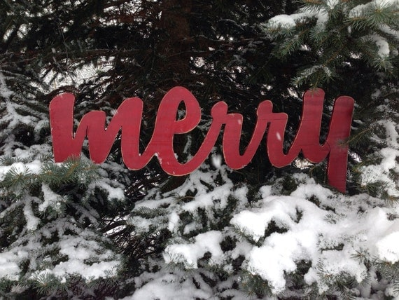 Merry Christmas Sign Red Antiqued Distressed - Large