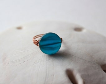 Cornflower Blue Sea Glass Wire Wrapped Ring