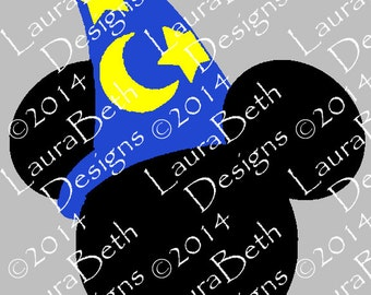 Mickey Mouse Hat Wizard Sorcerer Digital Design - Embroidery Designs INSTANT DOWNLOAD ~ 4x4, 5x7 and 6x10 Sizes