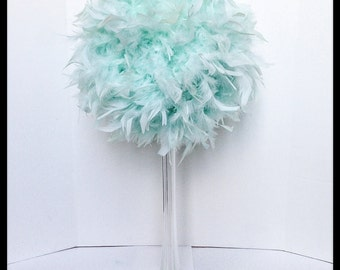 "12 "" Feather Kissing Ball,Mint, Feather Ball,Feather Pomander,Party Decorations,Wedding Decorations, Sweet 16  Decorations,Light Aqua,"