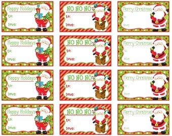 Printable Christmas Gift Tags - San ta Claus - Instant Download ...