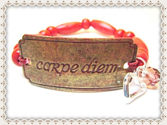 Inspirational Word Bracelet~Inspirational Quote Bracelet~CARPE DIEM Quote Bracelet~Inspirational Word Quote Bracelet~Carpe Diem Word Quote