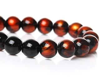 Glass Round Beads Orange Black Swirl 8mm Stunning Loose Beads Wild Fire 20/50 3953