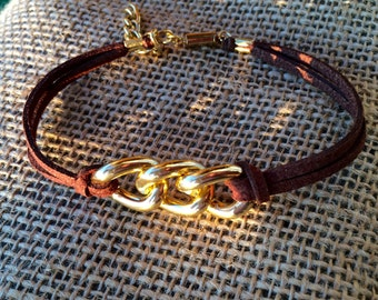 Leather cord gold bracelet