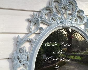 Nursery Mirror Blue Chalk Paint with Pearl Glaze Shabby Chic Baroque Ornate French Nordic Wall Hanging Mirrors