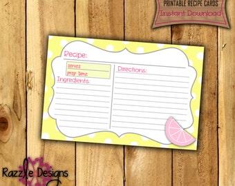 Printable Recipe Card Template-Digital File003-DIY Printable