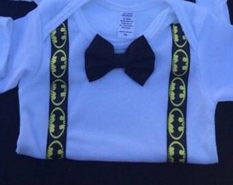 Batman onesie, bow tie onesie, birthday shirt, super hero shirt