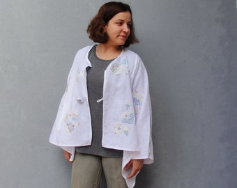 White Linen Jacket Embellished with Patchwork Applique