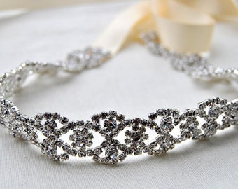 Rhinestone Headband, Bridal Wedding Headband Headpiece, Crystal Headband, Tie on ribbon Headband Headpiece, 1920s Flapper headband