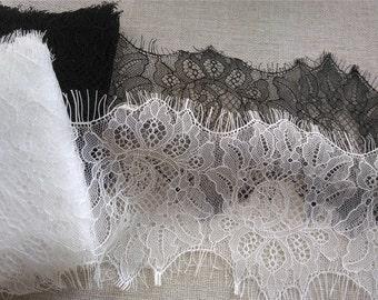 "4.7""*3yards DIY Eyelash lace trim flower ribbon DIY material 12cm lace belt white trim  for wedding black Eyelash lace"