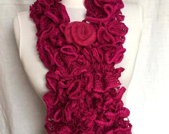 Red Fushia Ruffle Scarf For Woman Girl Lovers Day Gift For Her Mother's Day gift Valentine' s Day