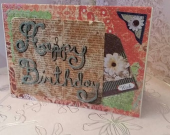 Birthday card.  Hand made embroidered birthday card