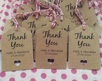 16 Thank You Wedding Favour Tags - Thank you, Wedding Favor
