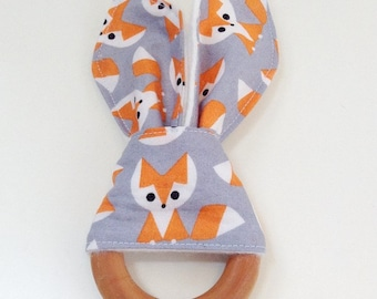 Organic Wooden Teether Toy, Gray Fox Teething Ring, Bunny Ear Teether, Natural Teether, Baby Shower Gift