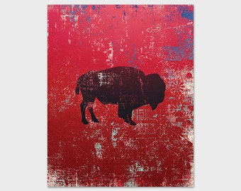 Buffalo Art Print, Bison Print, Printable Art, 8x10 Red Grunge Print, Instant Download, Digital File, Green Floral