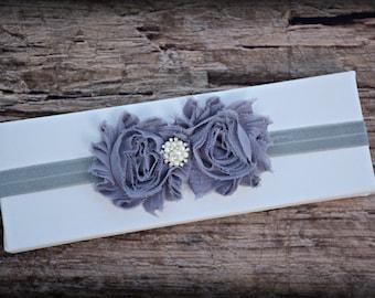 Gray Flower Headband Infant Baby Toddler Girl Birthday Prop Gift Party Wedding