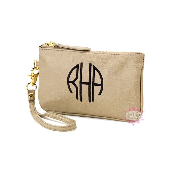 Monogrammed Leather Wristlet Personalized Wristlet By Leighlyssa
