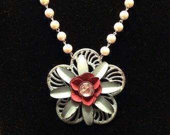 Antiqued flower necklace