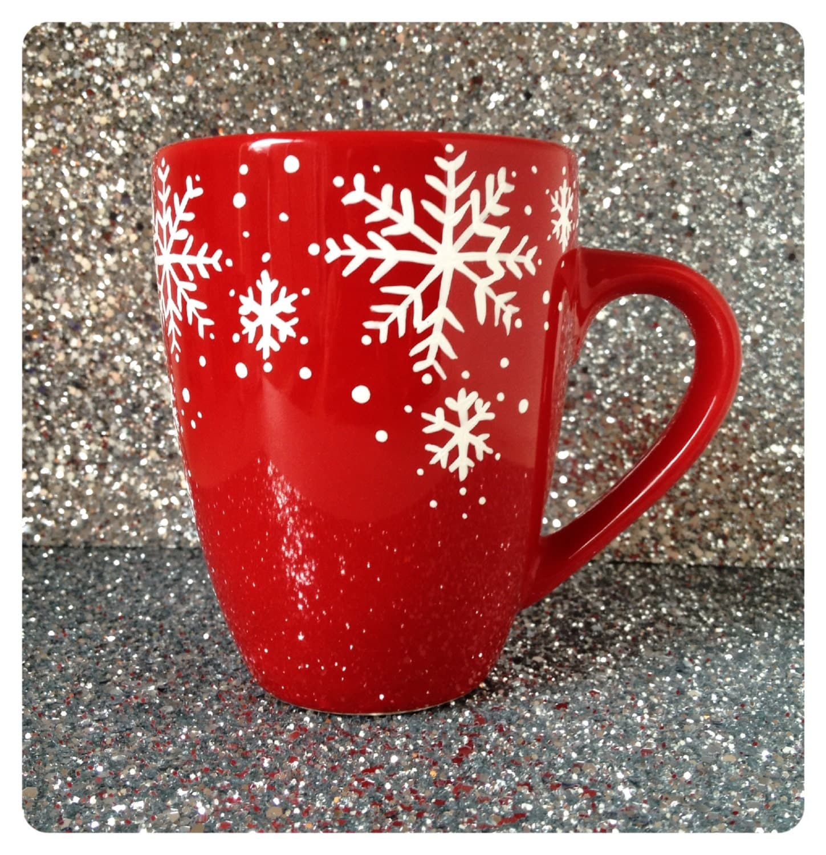 Set of 2 Red Christmas Snowflake coffee cups tea coffee hot