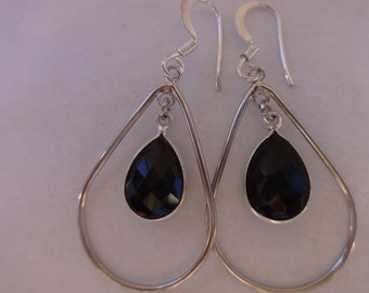 Black Onyx Dangle Earrings, Sterling Silver Hypoallergenic Earrings, Genuine Black Gemstone Earrings, Hand Crafted, Gift Idea, Gift for Her