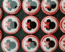"""Minnie Mouse image, 1"""" buttons for hair bows or any craft idea."""