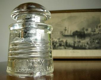 Antique Pyrex Glass Electric Insulator ~ USA