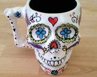 Personalized Mugs: Ceramic Sugar Skull Mug, Colorful Cup, Day of the Dead