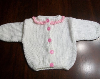 Pink and White Baby Cardigan, White Baby Sweater, Pink Baby Sweater, Newborn White and Pink Cardigan