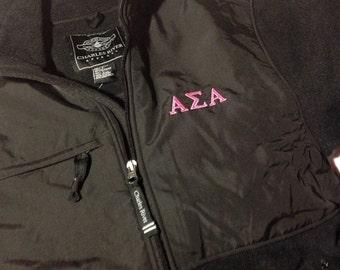 Alpha Sigma Alpha Black Evolux Fleece Jacket in Size Small