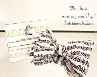 Music Note Bow Tie,Band Bow Tie, Music Bow Tie, Music Self Tie, Music Note Pre Tie, Black and White Bow Tie, Notes Bow Tie, Music Tie Stevie
