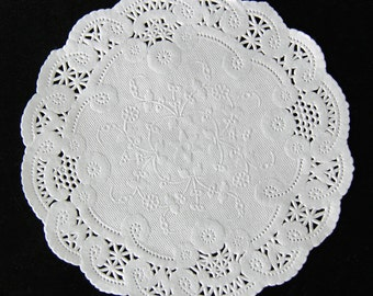 "6"" White French Lace Paper Doilies - 50 Quantity"