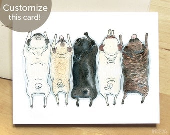 Cute Pug Card -  Pugs in a Row - Pug Spectrum, Pug Rainbow, Black Pug, Brindle & Fawn Pug Art Card from InkPug!