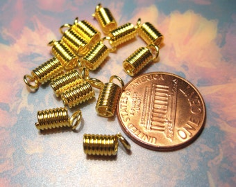 50pcs Gold Plated Coil End Crimp Fasteners 4x8mm (No.567)