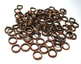 Antique Cooper Double Loops Split Open Jump Rings 5mm 22 ga (No.438)