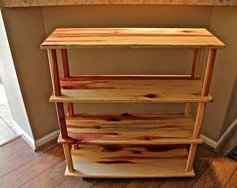 cedar book shelf, rustic book shelf, bookhelf, display shelf, furniture, shelf, library shelf, storage shelf, kids bookshelf, wooden shelf
