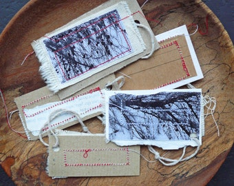 Christmas Stitched Paper Scrap Gift Tags - Set of 5, Larch Branches Photograph - MADE TO ORDER