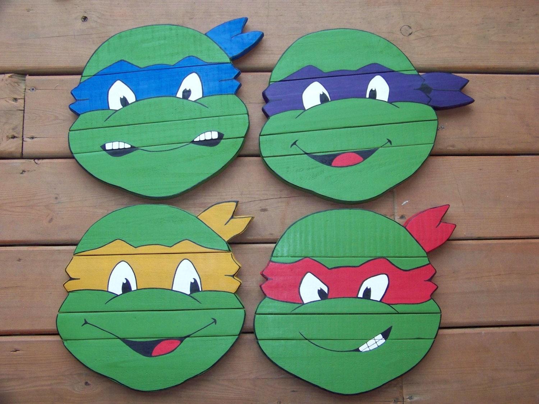 Ninja Turtle Bedroom Decor Ninja Turtle Wood Sign Set 4 Piece Reclaimed Pallet Wood